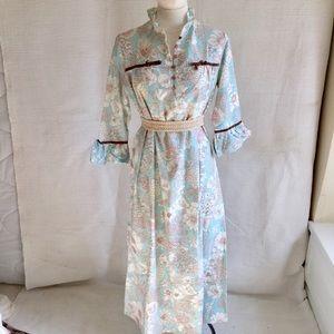 Vintage 70s Flower Power Print Cotton Prairie Gown